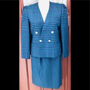Vintage Plaid Double Breasted Jacket Skirt Suit 10